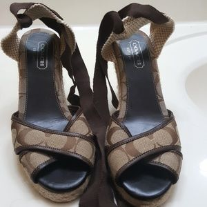 Brown coach lace up strap wedge